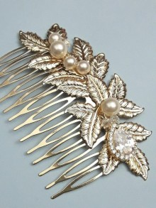 Peigne mariage feuilles zircons et perles