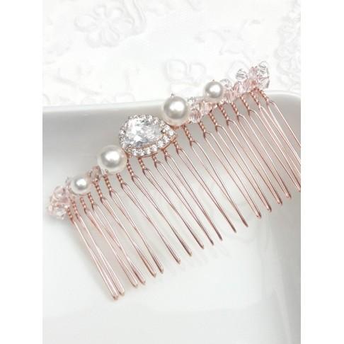 Laurence peigne mariée rose gold oxyde de zirconium et perles en cristal