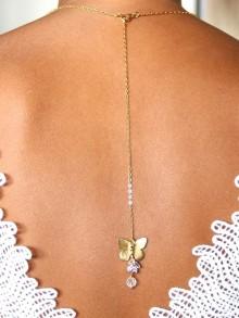 Pendentif de dos mariage pour robe mariée dos nu papillon doré n°2