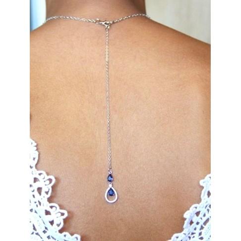 Pendentif bijou mariage de dos bleu saphir