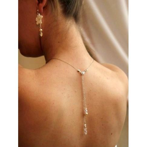 Bijoux de dos mariage Oreste chaine et cristal