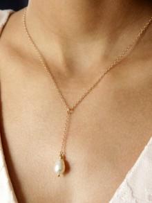 Collier mariage plaqué or pendentif goutte nacrée en cristal Séréna