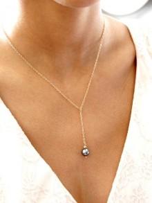 Noa collier de mariage en plaqué or pendant chaîne et perle grise