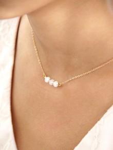 Maéline collier de mariage en plaqué or et cristal blanc opal