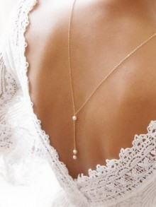 Bijoux mariage collier de dos Ethan en plaqué or