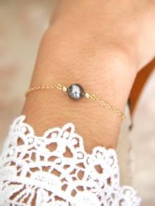 Noa bracelet de mariage plaqué or et perle cristal grise