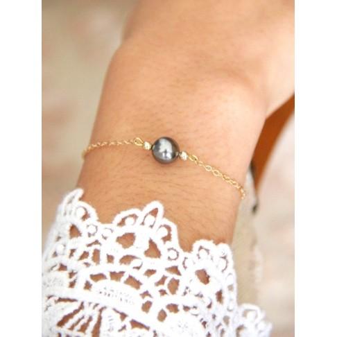 Noa bracelet de mariage plaqué or et perles cristal grises