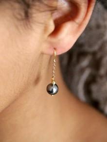 Noa boucles d'oreilles plaqué or et perles grises
