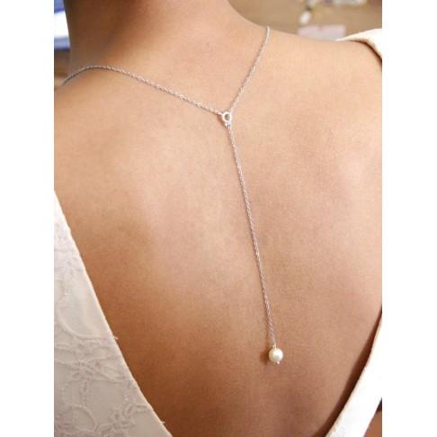 Collier de mariage avec pendentif de dos perle, collier de dos court