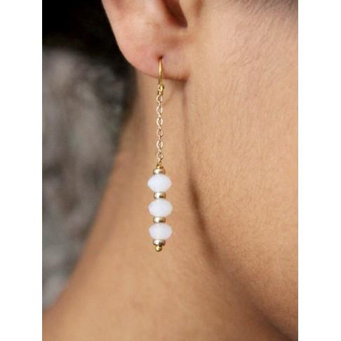 Bijoux mariage boucles d'oreilles Maéline en plaqué or et cristal blanc opal