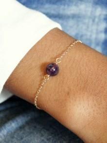 Bracelet minimaliste améthyste et plaqué or