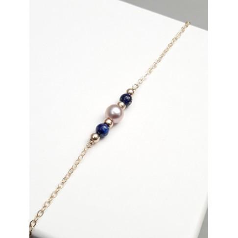Bracelet en plaqué or et lapis lazuli