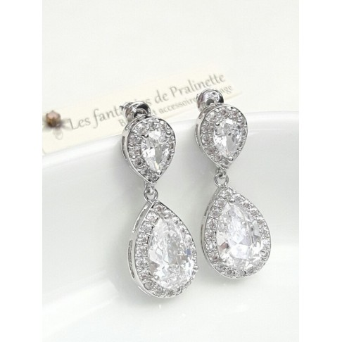 Soane boucles d'oreilles mariage strass et gouttes, bijoux mariées, clous d'oreilles oxyde de zirconium