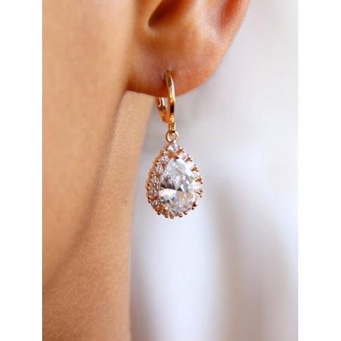 Boucles d'oreilles mariées Belinda dormeuses gouttes baroques dorées et strass oxyde de zirconium
