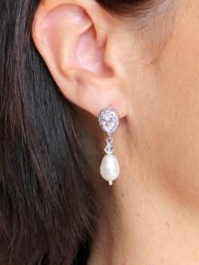 Enata boucles d'oreilles clous mariage zirconium et cristal