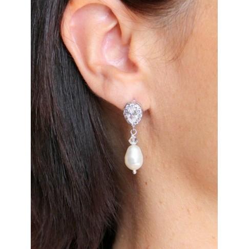 Enata boucles d'oreilles clous en oxyde de zirconium et cristal nacré