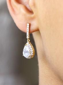 Boucles d'oreilles mariée strass et gouttes Jeanne, bijou mariage en oxydes de zirconium