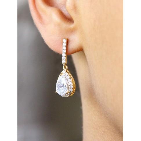 Boucles d'oreilles mariée strass et gouttes, bijou mariage en oxydes de zirconium