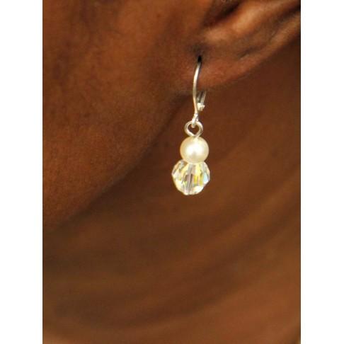 Abeline boucles d'oreilles mariées perles et cristaux