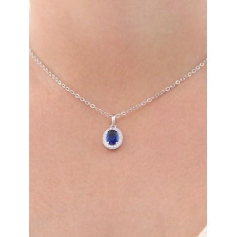 Pendentif collier de mariage ovale bleu saphir en zirconiums finitions rhodiées