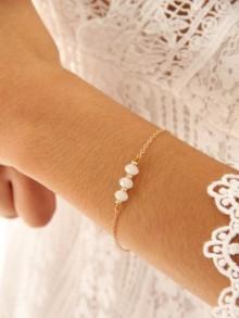 Bracelet de mariée Maeline en plaqué or et cristal blanc opal