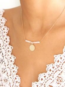 Nissia collier de mariée en plaqué or médaille et cristal