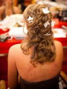 Vigne cheveux mariage, Fil à torsader pour coiffure parsemé de fleurs en satin de soie