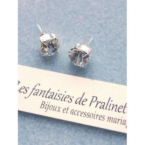 Boucles d'oreilles clous strass et cabochons en cristal Swarovski