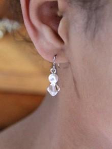 Adéna boucles d'oreilles mariées perles et cristaux