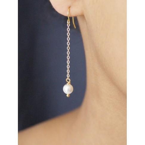 Longues boucles d'oreilles mariage perles Monika