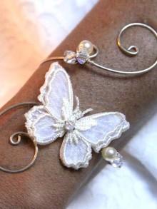 Bracelet mariage papillon voile et arabesques