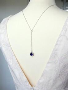 Collier chaîne de dos minimaliste et bijou de dos amovible goutte bleue