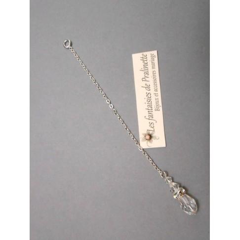 Bijoux de dos mariage goutte et strass pendentif perles en cristal
