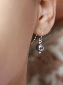 Boucles d'oreilles mariage une perle grise, blanche ou ivoire