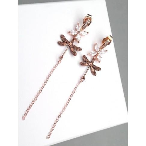 Boucles d'oreilles mariage rose gold libellules