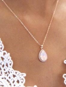 Rosalinda rose gold et rose opal collier pendentif mariée goutte en cristal et oxyde de zirconium, bijoux mariage