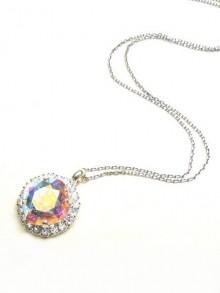 Collier de mariage Byzance cristal reflets irisés aurore boréale