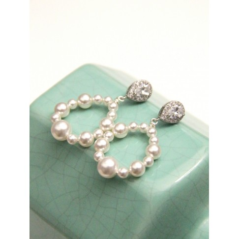 Boucles d'oreilles mariage créoles perles Orée