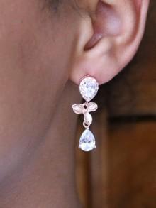 Boucles d'oreilles mariage rose gold cascade orchidées et zirconiums