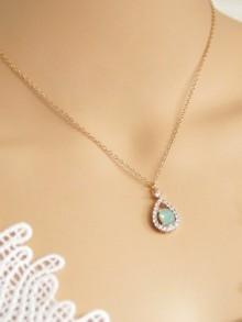 Collier de mariage goutte strass et cristal vert opal