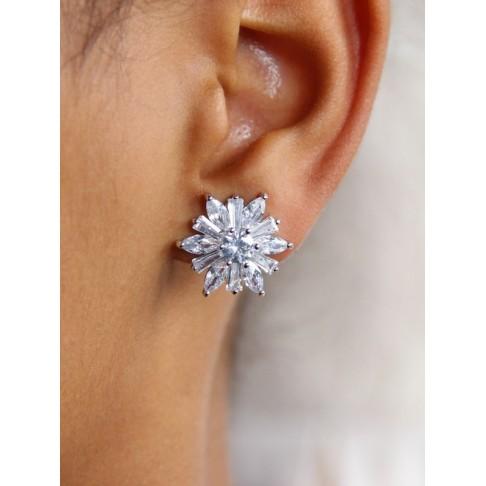 Clips d'oreilles mariage flocon fleur des neiges, boucles d'oreilles mariage non percées strass