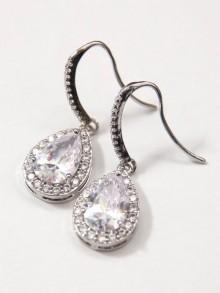 Boucles d'oreilles  mariage gouttes strass zirconium