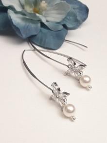 Boucles d'oreilles traversante strass et cristal, Icône perle