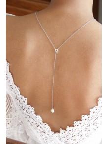 Collier mariage de dos court perle de culture et acier inoxydable Briant- Prêt à porter bijoux