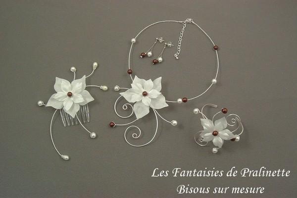 Bijoux mariage parure Calixte personnalisée avec des perles marron chocolat.