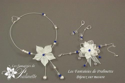 Bijoux parure mariage personnalisée en couleur bleu roi