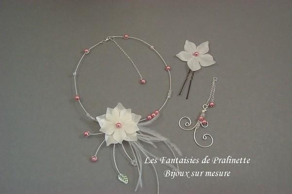 Bijoux mariage collier de mariée Carmela, bijou de dos Arabesque et pic à chignon Délices, perles vieux rose.