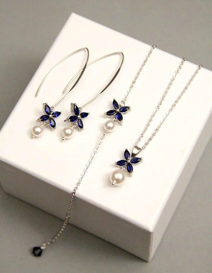 Parure mariage en zirconium bleu saphir