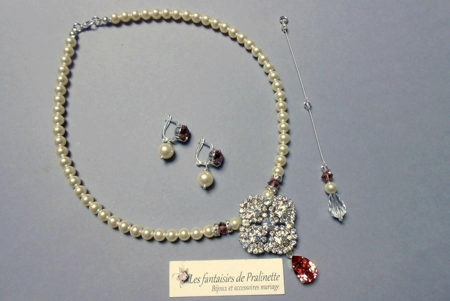 Bijoux mariage Madélia et Ophélia cristal nacré et cristalux vieux rose.