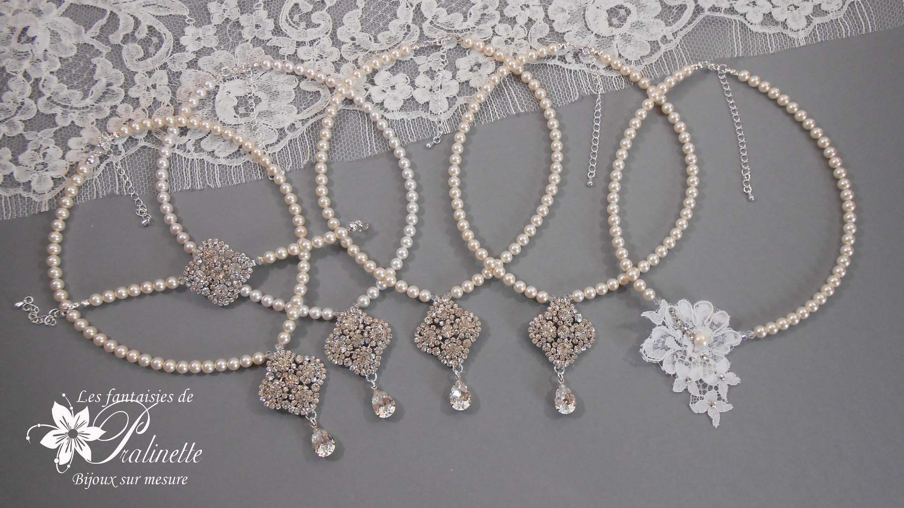 Parures de mariage ivoire ou blanches en perles